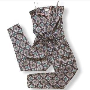 Molly Bracken Geometric Print Jumpsuit Pink Blue